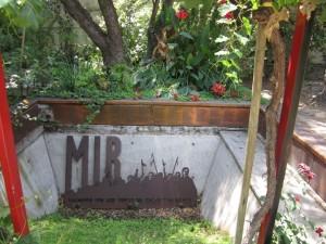 """mir"" sign in garden"