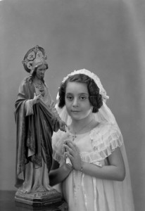young girl in communion dress