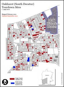 map of neighborhood showing teardowns