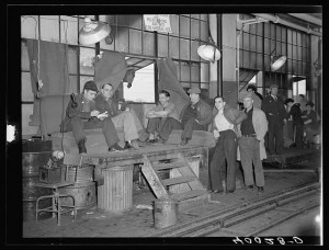 Strikers guarding window entrance to Fisher body plant number three. Flint, Michigan, 1937.(http://www.loc.gov/pictures/resource/fsa.8c28670/)