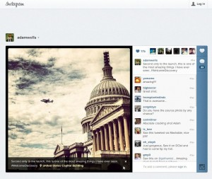 Photo by Adam Wells of the space shuttle flying past the U.S. Capitol, posted on Instagram