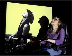 woman with projected image