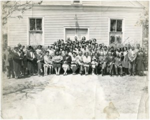 group of people in front of church