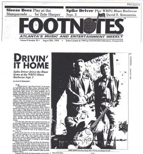 Interview with Spike Driver lead guitarist and Footnotes blues editor Bryan Powell. Footnotes, August 28, 1990.