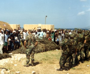 Haitians protesting their confinement in GTMO's refugee camps, 1992, courtesy of Merrill Smith