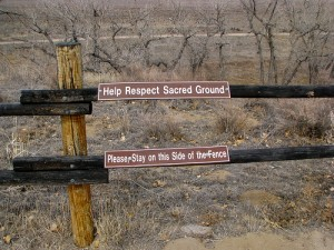 fence with sign