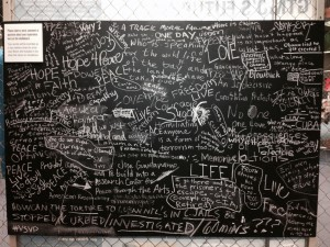 A chalkboard enabled visitors to leave comments at the exhibit. Photo credit: Nancy Dallett