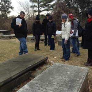 Graduate students on a walking tour of Druid Hill Park in Baltimore. Photo by Denise Meringolo.