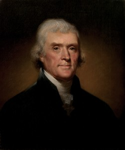 Official Presidential portrait of Thomas Jefferson, ca 1800. Painting By Rembrandt Peale [Public domain], via Wikimedia Commons.