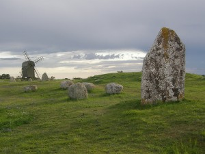 windmill and standing stones
