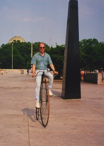 Riding a highwheel bicycle at the Smithsonian Institution. Photo courtesy of author.