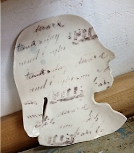 Porcelain plate with imprint of Fanny Pierce Iddings' marriage certificate by Rikki Condon, 2014. (photo credit Rikki Condon)