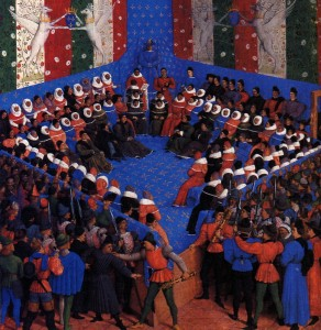 Illumination by Jean Fouquet for the work of Boccaccio, The case of the noble men and women representing a bed of justice at the Parliament of Paris, held by Charles VII of France, 1450. Image credit: Wikimedia Commons.