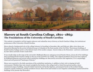 "Homepage of the ""Slavery at South Carolina College"" website."