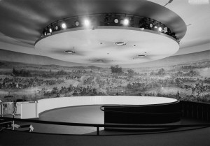 Interior view of the Gettysburg Cyclorama in the former, Neutra building location. Courtesy, Library of Congress.