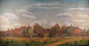 This 1820 watercolor shows an early view of the campus.  Image:  South Caroliniana Library