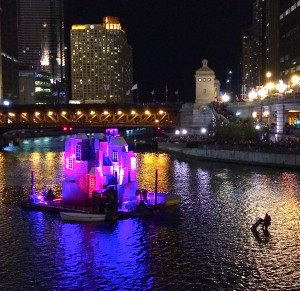 One of the floating Victorian houses awaiting a burning that never quite arrived during the Great Chicago Fire Festival on October 4. Photo credit: Richard Anderson