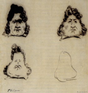 Charles Philipon was put on trial in 1831 for caricaturing the French king, including by showing the monarch's resemblance to a pear.  Source:  Wikipedia. http://en.wikipedia.org/wiki/Charles_Philipon#mediaviewer/File:Philipon_Metamorphose_Louis-Philippe_en_poire.jpg