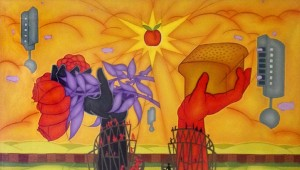 "The final triptych panel, entitled ""Another World is Possible,"" references the ""Bread and Roses"" strike of 1912. Image courtesy of Mike Alewitz."