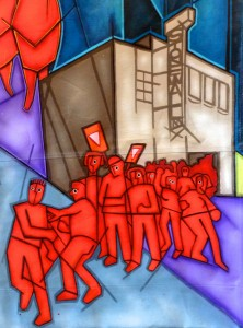 "The Stonewall Rebellion is one event depicted in the central section of the mural, ""The March of the People."" Image courtesy of Mike Alewitz."