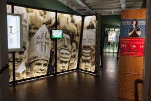 The exhibit contained many examples of religious symbols displayed at football matches. Photo credit: Caro Bonink/Amsterdam Museum