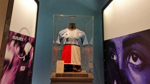 1. Wesseling's half Feynoord/half Ajax shirt was kept behind glass as a means of protection. Photo credit: Caro Bonink/Amsterdam Museum