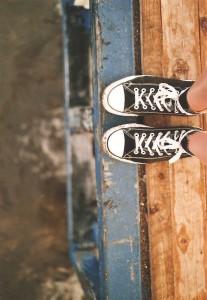 feet on edge of platform