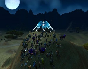 Players gather at the Shrine of the Fallen Warrior in World of Warcraft. Photo credit: