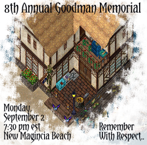 Invitation for Ultima Online memorial service for Goodman, 2013. Photo credit: