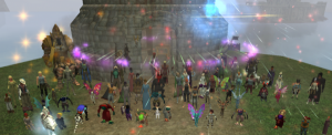 Everquest II players gather in honor of player Ribbitribbit. Photo credit:
