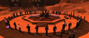 A vigil for Leonard Nimoy held in Star Trek Online shortly after his death in February 2015. Photo credit: