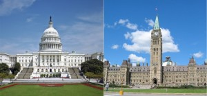 United States Capitol Building, Washington, D.C. and Parliament, Centre Block, Ottawa, Wikicommons.
