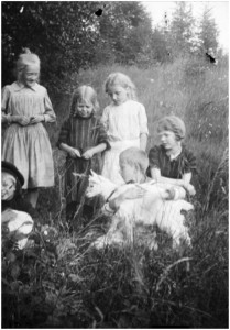 children with goat