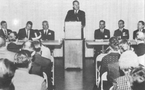"Robert M. Utley (third from right) as a panelist at the Denver ""New Preservation"" conference, 1968.  The National Park Service held eight regional conferences to explain the National Historic Preservation Act and its broad implications for preservation to the new State Liaison Officers for the act and interested members of the public.   Image credit:   Washington Office, National Park Service."