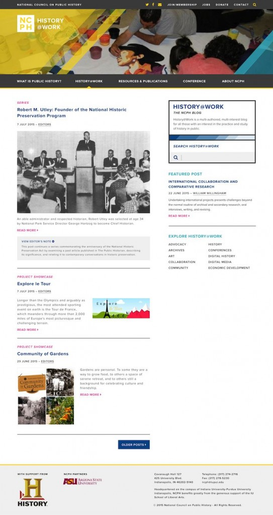 History@Work will become more visually integrated with the main NCPH website. Design draft supplied by NCPH.