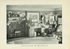 """Miss Willard in Her Den, Rest Cottage, 1890,"" in Anna A. Gordon, The Beautiful Life of Frances E. Willard a Memorial Volume (Chicago: Women's Temperance Publishing Association, 1898), 144-145"