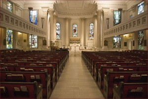 Interior of St. Paul's Church in Richmond, Virginia, showing Tiffany memorial windows. Photo credit: Ron Congswell. Wikimedia Commons.