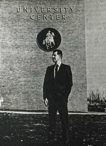 """Forrest plaque on the MTSU Keathly University Center, from Sidelines campus newspaper, March 1968."""