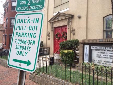 Sunday parking sign, Galbraith A.M.E. Zion Church, Sixth Street NW, Washington, D.C. Photo by the author.