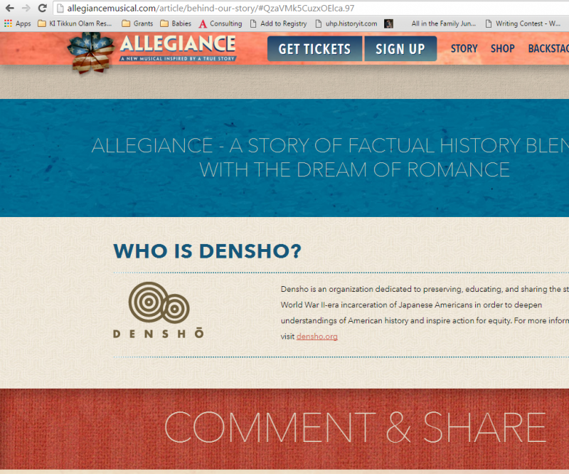 """Courtesy """"Behind Our Story"""" section of Allegiance website http://allegiancemusical.com/article/behind-our-story/"""