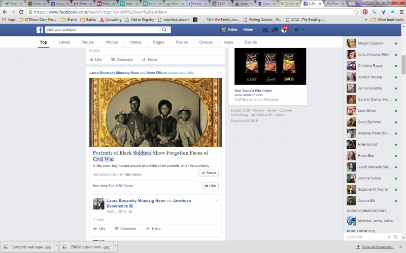 Image of post about an article on Civil War soldiers on Facebook feed. Courtesy Adina Langer