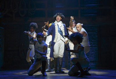 Christopher Jackson as George Washington and the ensemble of Hamilton. Photo credit: Joan Marcus.