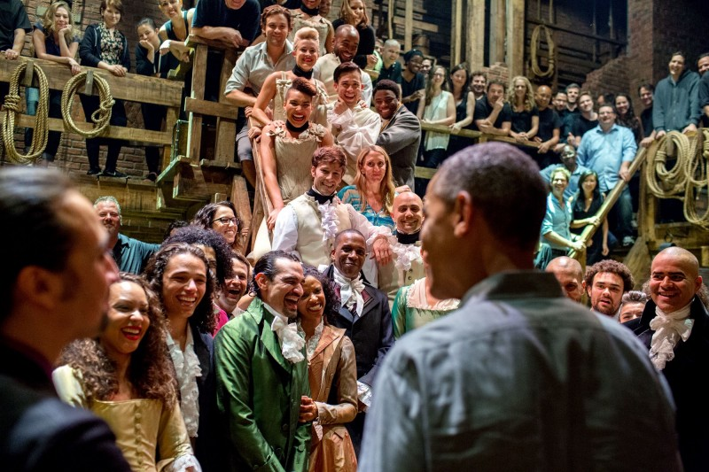"President Obama greets the cast and crew of ""Hamilton"" after seeing the musical with his daughters, July 2105. Credit: Executive Office of the President of the United States."