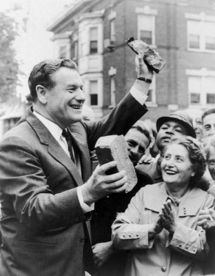 Governor Nelson Rockefeller and Jennie Scanese of 161 Hamilton St, July 11, 1962, as demolition of the area that would become the Empire State Plaza began. Photograph by Bob Paley, Albany Knickerbocker News. Used by permission of the Albany Times Union.