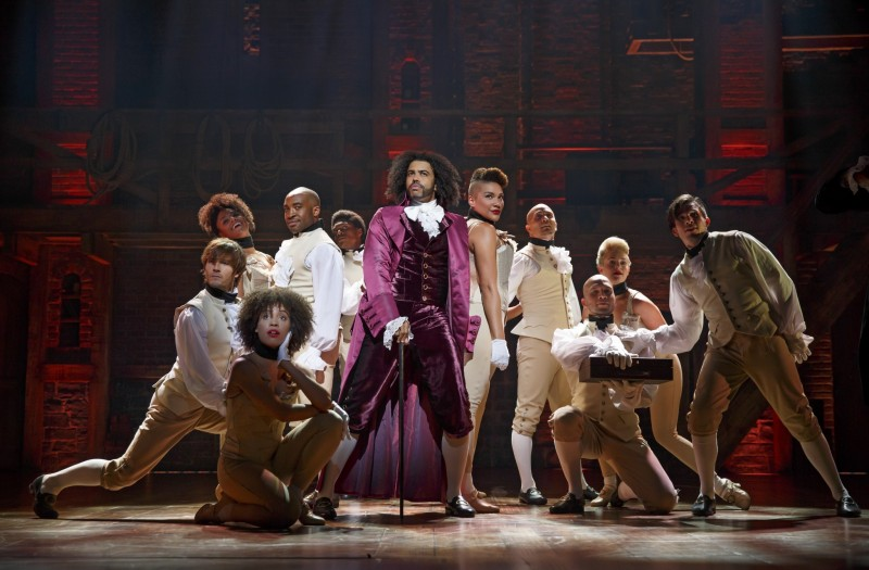 Daveed Diggs as Thomas Jefferson and the ensemble of Hamilton. Photo by Joan Marcus.