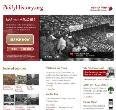 Homepage of PhillyHistory.org.