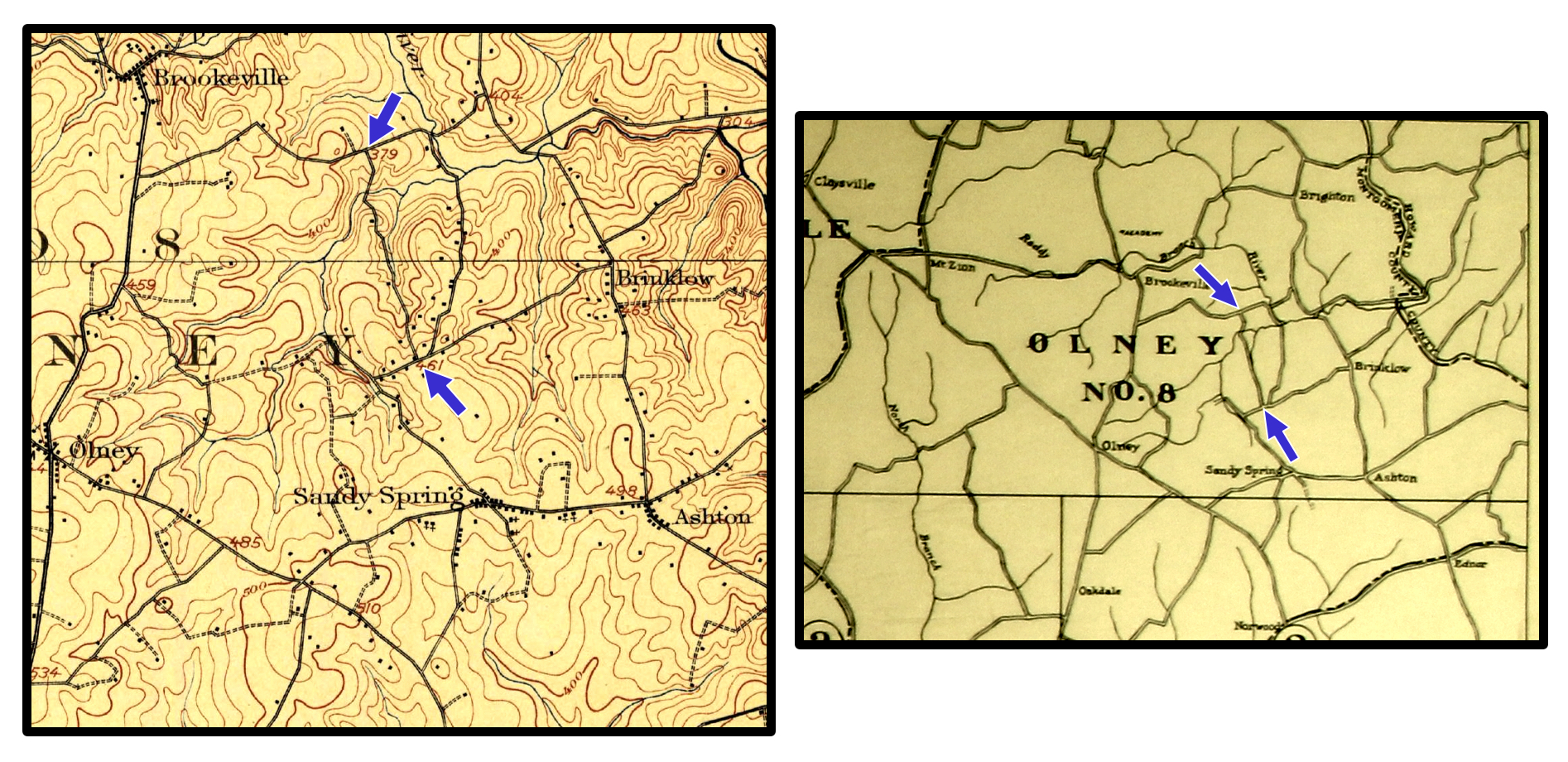 Historic maps illustrating the Farm Road corridor (blue arrows mark termini). The map on the left is from the 1908 U.S.G.S. Rockville quadrangle and the map on the right is from the 1916 Real Estate Atlas of the Part of Montgomery County Adjacent to the District of Columbia. Image credit: Public domain.