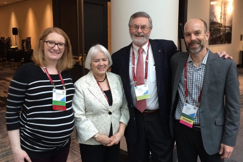 At the 2016 National Council on Public History meeting in Baltimore, then-Interim-Executive-Director Stephanie Rowe (left) joined Founders Award winners Arnita Jones and Phil Cantelon and former NCPH Executive Director John Dichtl (right). Photo credit: NCPH