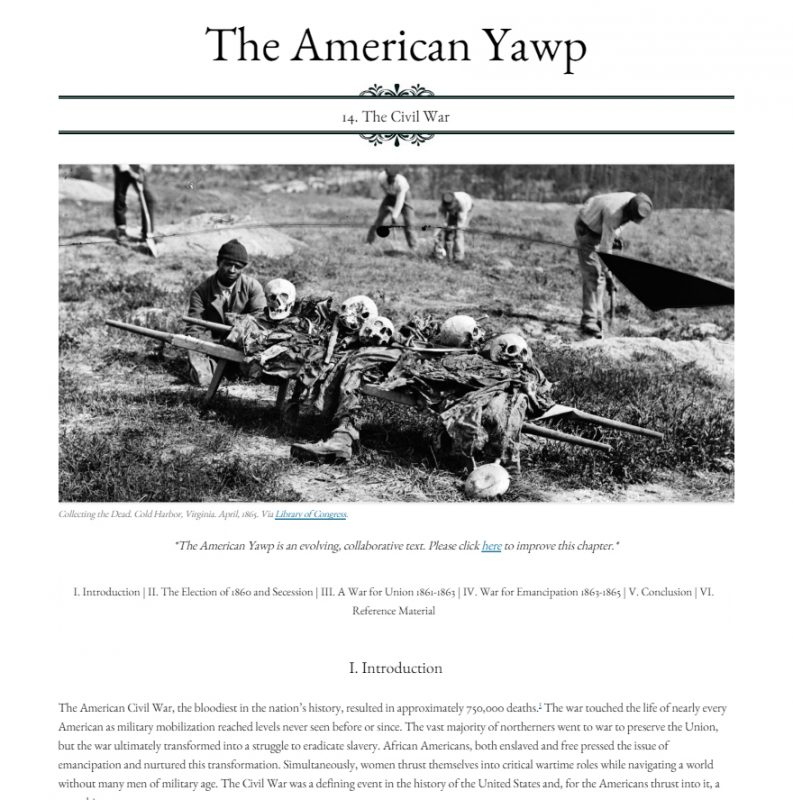 Civil War chapter from the American Yawp. Screenshot courtesy JJoseph Locke