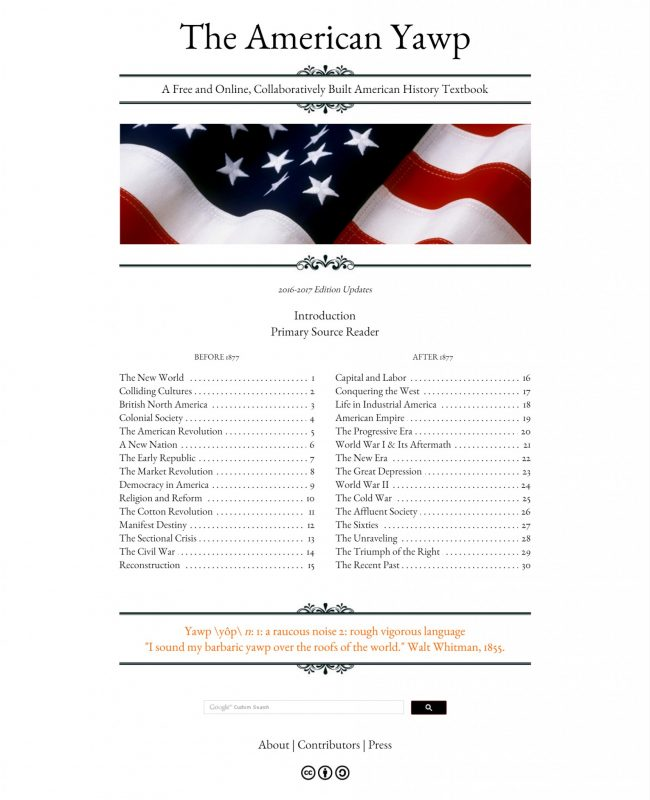 American Yawp home page. Screenshot courtesy Joseph Locke